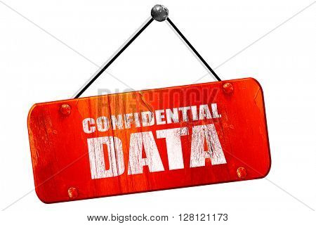 confidential data, 3D rendering, vintage old red sign