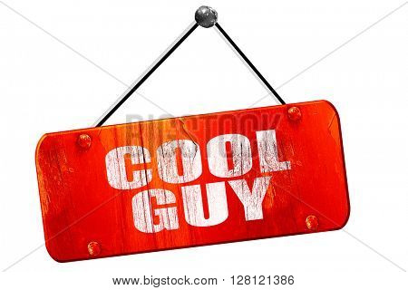 cool guy, 3D rendering, vintage old red sign