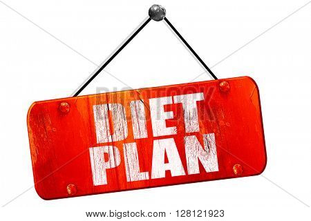 diet plan, 3D rendering, vintage old red sign