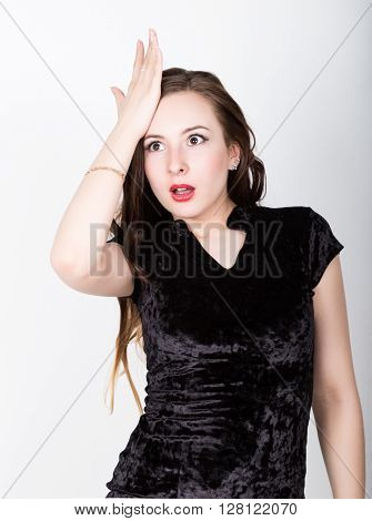 funny casual woman slaps his forehead in an oh-no moment, disappointed. different happy emotions. poster