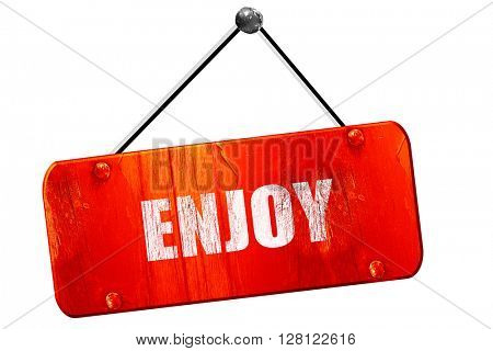 enjoy, 3D rendering, vintage old red sign