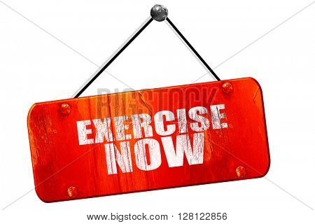 exercise now, 3D rendering, vintage old red sign