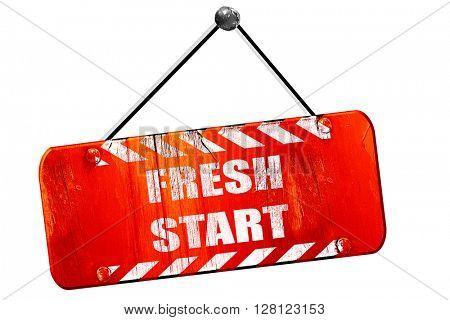 Fresh start sign, 3D rendering, vintage old red sign