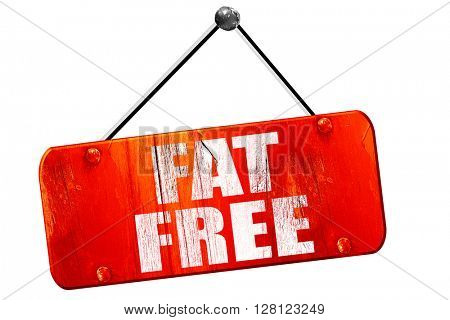 fat free, 3D rendering, vintage old red sign