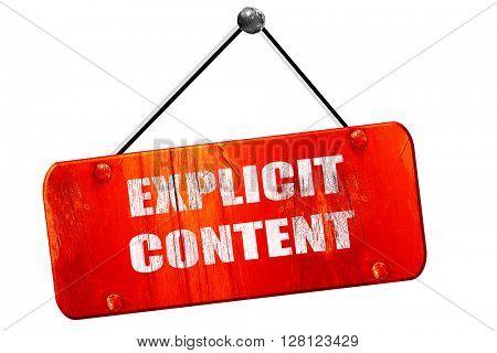 Explicit content sign, 3D rendering, vintage old red sign