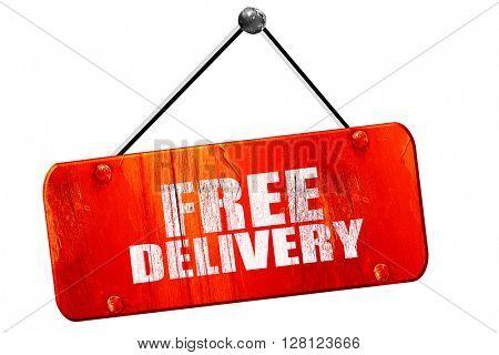 free delivery, 3D rendering, vintage old red sign
