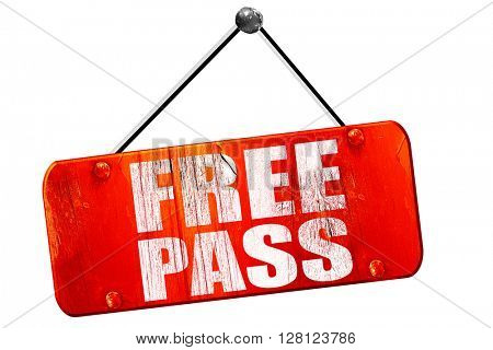 free pass, 3D rendering, vintage old red sign