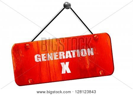 generation x word, 3D rendering, vintage old red sign