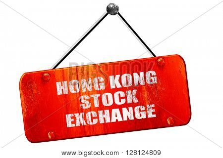 hong kong stock exchange, 3D rendering, vintage old red sign