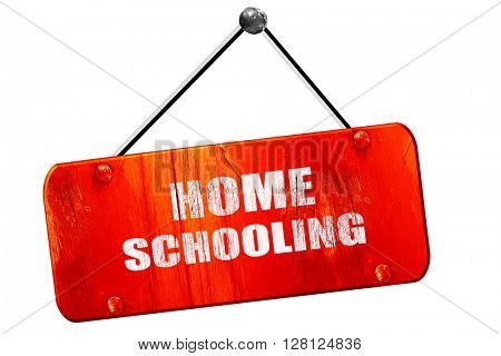 homeschooling, 3D rendering, vintage old red sign