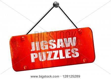 jigsaw puzzles, 3D rendering, vintage old red sign