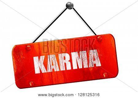 karma, 3D rendering, vintage old red sign