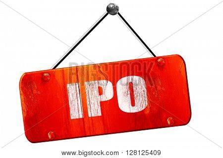 ipo, 3D rendering, vintage old red sign