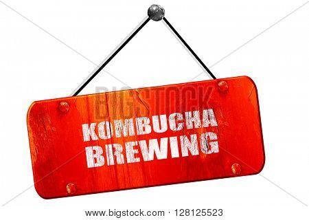 kombucha brewing, 3D rendering, vintage old red sign