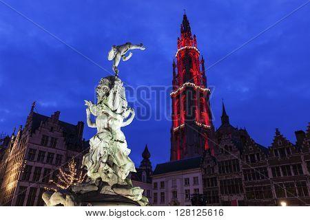 Brabo Fountain on Grote Markt in Antwerp. Antwerp Flemish Region Belgium