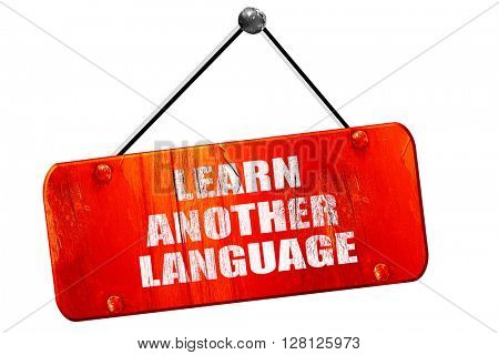 learn another language, 3D rendering, vintage old red sign