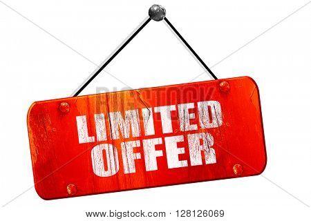 limited offer, 3D rendering, vintage old red sign