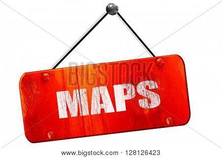 maps, 3D rendering, vintage old red sign