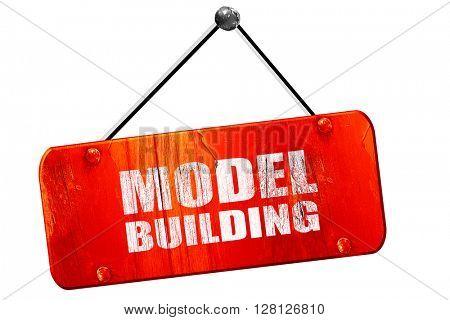 model building, 3D rendering, vintage old red sign
