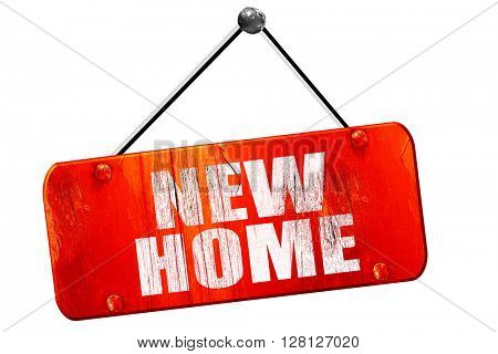 new home, 3D rendering, vintage old red sign