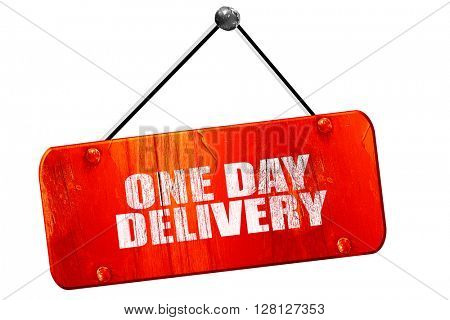 one day delivery, 3D rendering, vintage old red sign