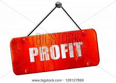 profit, 3D rendering, vintage old red sign