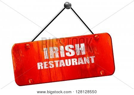Delicious irish cuisine, 3D rendering, vintage old red sign
