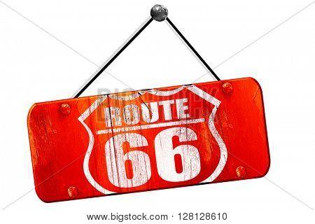 Route 66 sign, 3D rendering, vintage old red sign