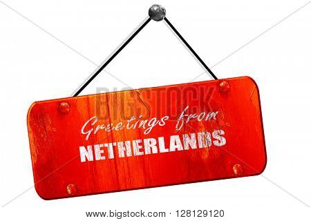 Greetings from netherlands, 3D rendering, vintage old red sign
