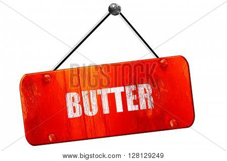 Delicious butter sign, 3D rendering, vintage old red sign