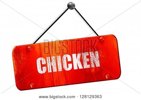 Delicious chicken sign, 3D rendering, vintage old red sign