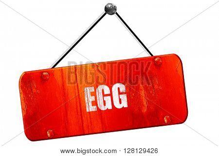 Delicious egg sign, 3D rendering, vintage old red sign