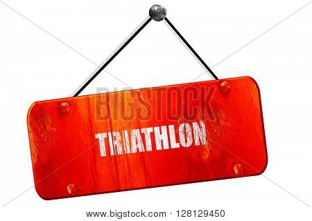 triathlon sign , 3D rendering, vintage old red sign