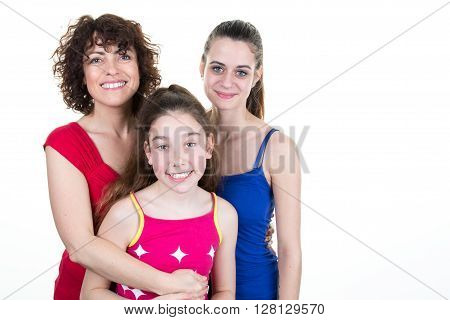 Single mother with two daughters isolated on white