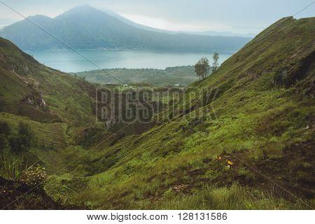 Beautifull Mountain In The Morning Mist , Batur, Bali,  Indonesia