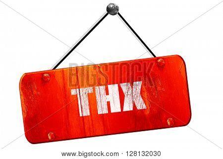 thx internet slang, 3D rendering, vintage old red sign