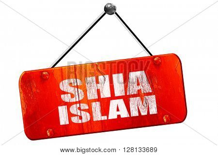 shia islam, 3D rendering, vintage old red sign