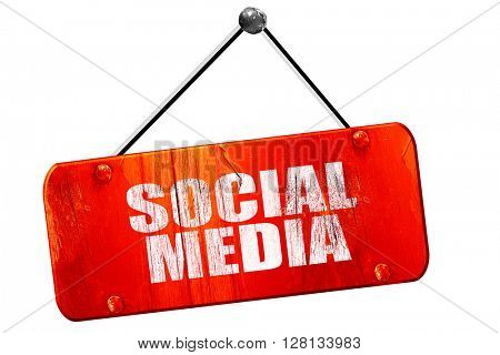 social media, 3D rendering, vintage old red sign