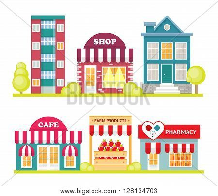 Store front window concept. City shop icon. Street small business