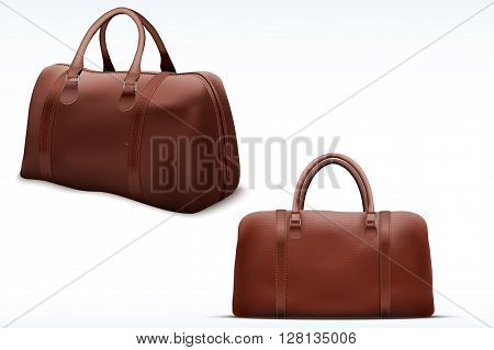 Classic Stylish Leather Handle Bag. Perspective and side view. Fashion accessory.  illustration Isolated on white background.