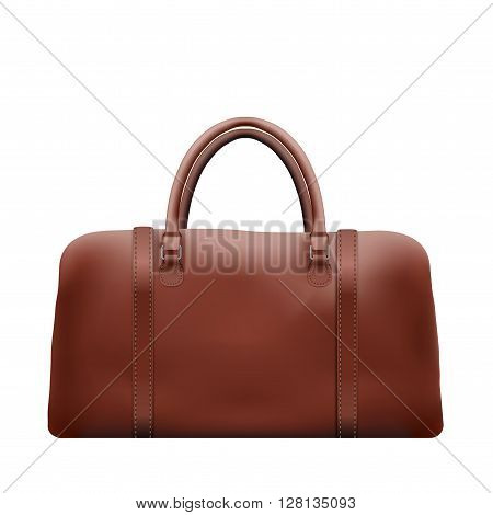 Classic Stylish Leather Brown Handle Bag. Side view of Fashion accessory.  illustration Isolated on white background.