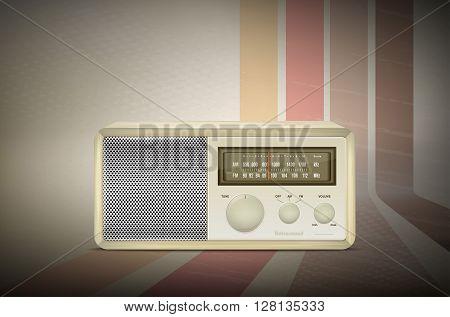 Vintage Wooden Radio On Retro Stripe Background