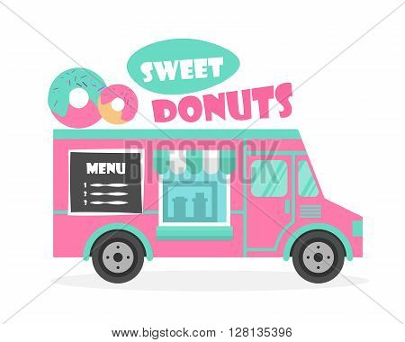 Street food truck vector illustration. Ice cream, sweet donuts van delivery. Flat icon