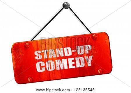 stand-up comedy, 3D rendering, vintage old red sign