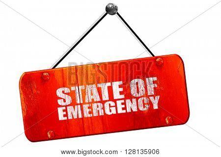 state of emergency, 3D rendering, vintage old red sign