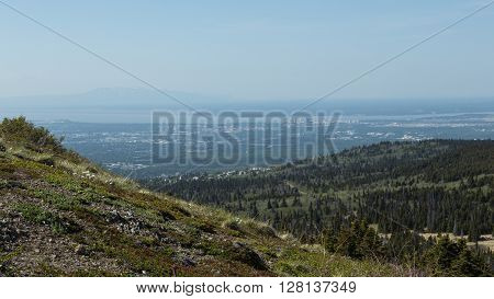 Landscape view of Anchorage and Mount Susitna