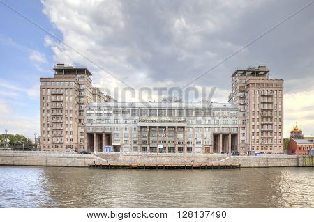 MOSCOW RUSSIA - May 02.2016: View of the Variety Theatre from Moskva river