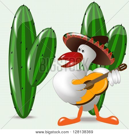 Bird in a sombrero plays the guitar and sings a Serenade