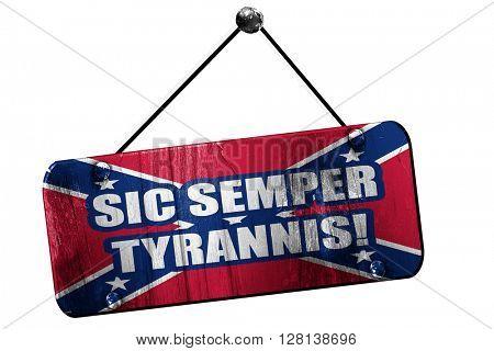 Rebel flag, 3D rendering, grunge hanging vintage sign, means