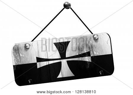 Teutonic knights flag, 3D rendering, grunge hanging vintage sign